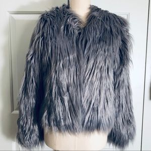 Misguided Cropped Furry Jacket Gray Color Size 0